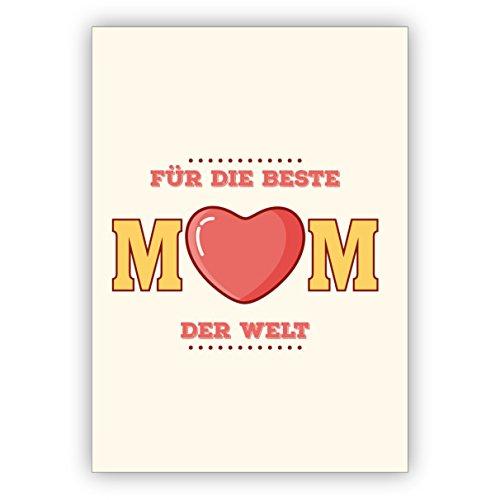 Kartenkaufrausch Retro felicitatie voor Moederdag/verjaardagskaart/kerstkaart: Voor de beste moeder ter wereld • als feestelijke groetkaart voor jaarwisseling voor familie en bedrijf