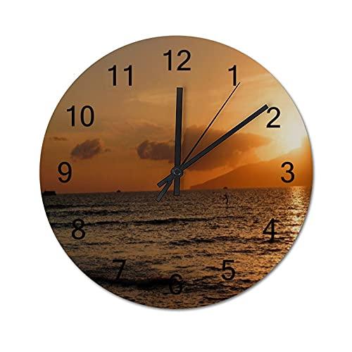 Reloj de Pared ,Lahaina, Maui, Hawái, Relojes de Pared Digitales de Madera Que no Hacen tictac, Funcionan con Pilas, decoración Sala de Estar, Dormitorio, Aula, Oficina (12 Pulgadas).