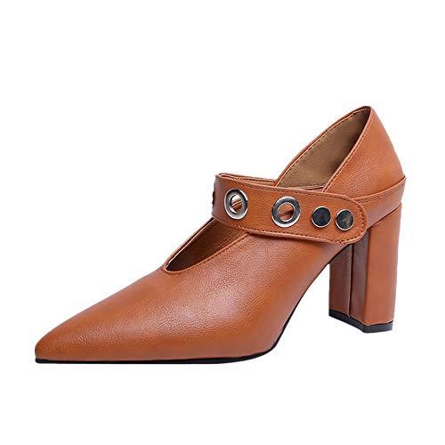 NMERWT Damen Vintage Flats Pumps Pumps mit Pfennigabsatz Wies Kunstleder Starke Ferse Einzelne Schuhe Frauen Blockabsatz High Heels