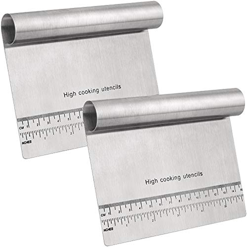 2 Packs Dough Scraper Cutter, Stainless Steel Bench Pastry Scraper Kitchen