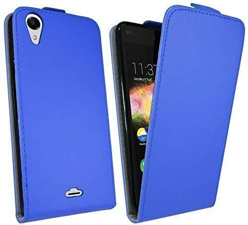 ENERGMiX Handytasche Flip Style kompatibel mit Wiko Rainbow UP in Blau Klapptasche Hülle