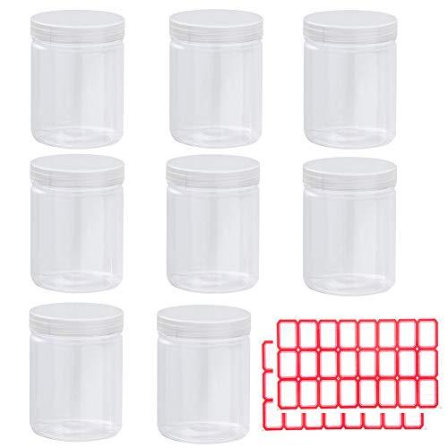 Almacenamiento de limos vacíos,8 tarros sellados de plástico transparente con tapas de rosca y 2 etiquetas adhesivas,organizador redondo para alimentos, productos secos, cocina y manualidades,etc