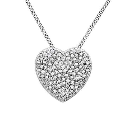 Carissima Gold Collar con oro blanco de 9K y colgante, diamantes 0.10 ct, 46 cm