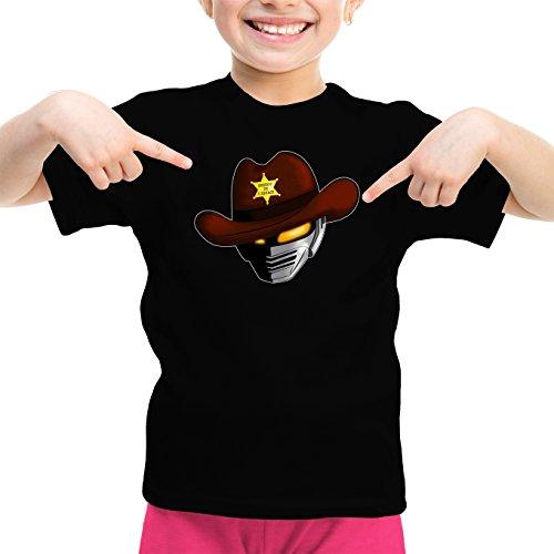 Okiwoki T-Shirt Enfant Fille Noir X-Or Le Shériff de l'espace parodique X-Or - Gavan : Le Shériff de l'espace. (Parodie X-Or Le Shériff de l'espace)