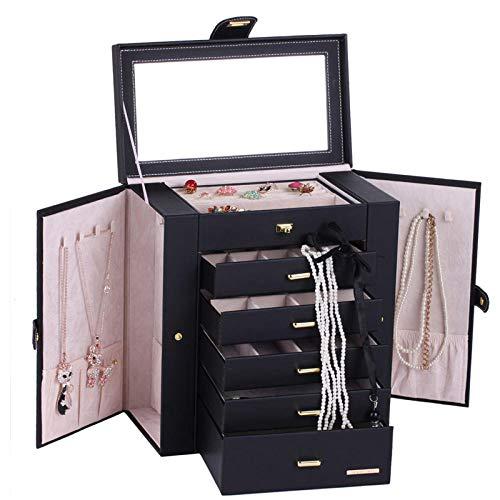 Extra große schwarze Schmuckschatulle Bilderrahmen Schmuckschrank Tragbare kleine Schmuckdisplay Garderobe Luxus PU Armband Halskette Box