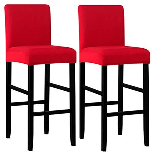 MINGZJ High Stools Bar Stuhlhussen 2er Set,Schonbezug für runde und eckige Stuhl,Waschbar Elastische Pub Stuhlbezug,nur Hussen,Rot