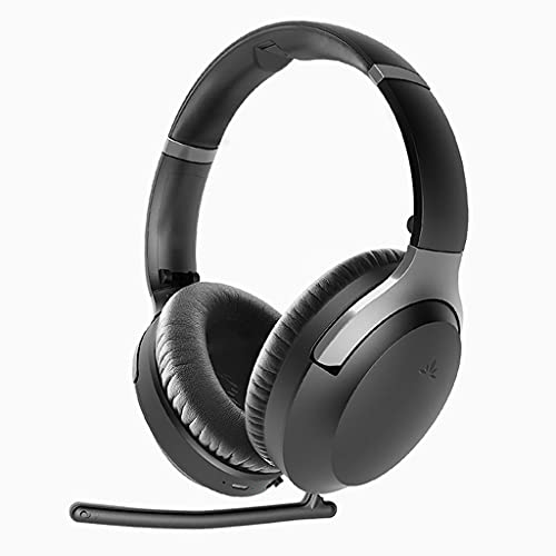 Avantree Aria Pro aptX-HD Bluetooth 5.0 Active Noise Cancelling Headphones with Boom Microphone for Hi-Fi Music & Work Calls, Low Latency Over Ear Wireless & Wired Headset for Phone PC Computer Laptop