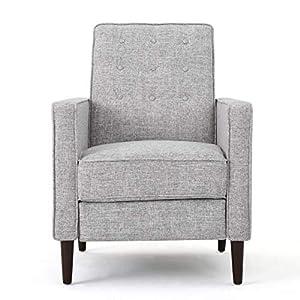 Christopher Knight Home Mervynn Mid-Century Modern Fabric Recliners, 2-Pcs Set, Light Grey Tweed
