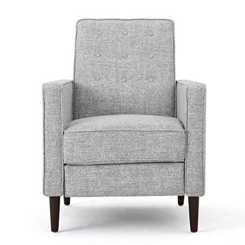 Christopher Knight Home Mervynn Mid-Century Modern Fabric Recliners, 2-Pcs Set, Light Grey Tweed