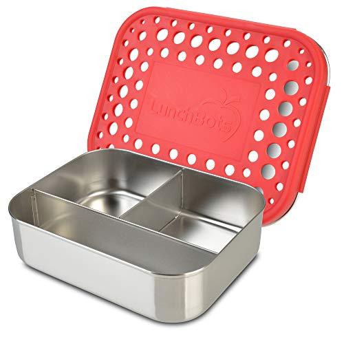 LunchBots–Fiambrera de acero inoxidable recipiente para alimentos, 3secciones, tapa, carcasa de acero...