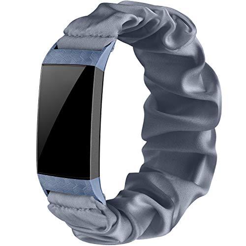 Wanme Correa Compatible con Fitbit Charge 4 Fitbit Charge 3 Correa, Tela Elástica Tela Correas para Relojes Patrón Pulsera Estampada Tejida, Mujeres (Gris, L)