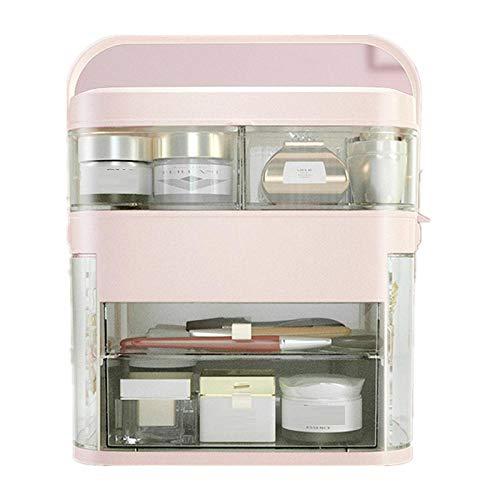 Organizador de maquillaje con espejo Luz LED Estante de joyería Organizador de cosméticos Cuidado de la piel Lápiz labial...