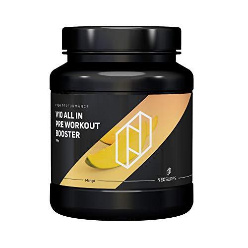 Pre-Workout Fitness Booster für Muskelaufbau & maximalen Pump | Bodybuilding & Trainingsbooster mit Beta Alanin, Kreatin und Koffein für mehr Leistung, Fokus | Neosupps V10 Booster – Mango