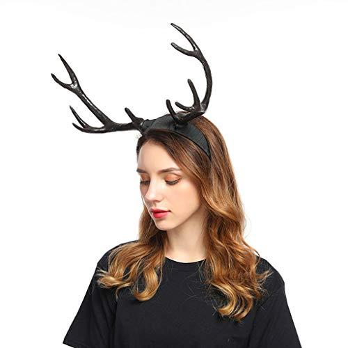 Zuhause Christmas Geweih Haarreif Weihnachten Haarig Weihnachtszubehör Stirnbänder für Cosplay Damen Herren Weihnachts-Stirnband Party Haarband Weihnachtsdeko Haarbänder Gummiband (Schwarz)