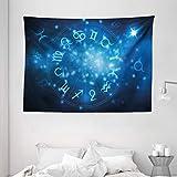 Tapiz de Pared Tapestry Tapiz de astrología Rueda de horóscopo abstracto con signos Acuario León Tauro Libra Colgante de pared Tapestries 80 * 60inch
