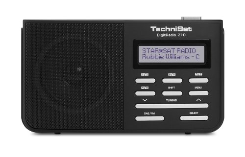 TechniSat Digitradio 210 portables DAB Radio (DAB+, UKW, zweizeiliges LCD-Display, Teleskopantenne, Kopfhöreranschluss, Favoritenspeicher; Netz- oder Batteriebetrieb) schwarz