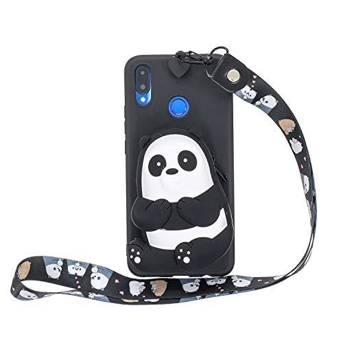 Miagon Silikon Hülle für Huawei P Smart 2019,3D Süß Brieftasche Lager Tasche Design mit Halskette Kordel Schnur Handykette Necklace Band,Schwarz Bär