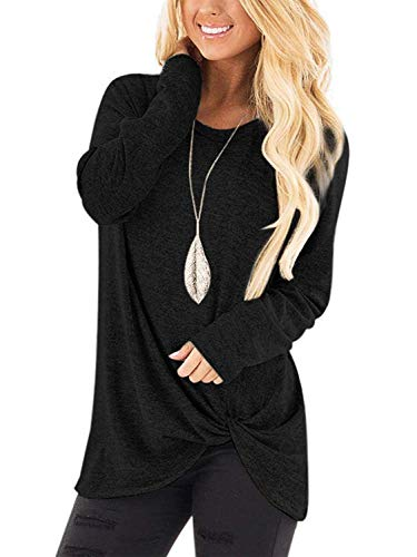 SAMPEEL Womens Casual Slim Tunic Tops Basic Long Sleeve Knot Twist Shirts Black M