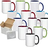 15oz El Grande Ceramic Sublimation Coffee Mug MIX Colors Inside/Handle - Cardboard Box...