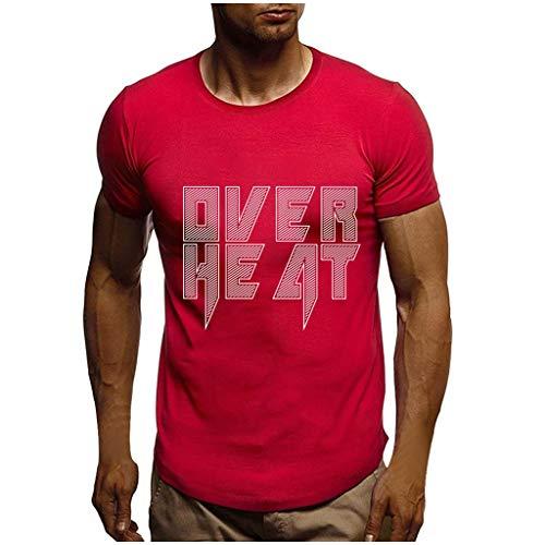 PPangUDing T-Shirt Herren Sommer Mode Rundhals Kurzarm Brief Bedruckte Slim Fit Casual Bluse Oberteil Tops Tank Top Unterhemd Hawaiihemd für Sport Fitness Workout Täglichen