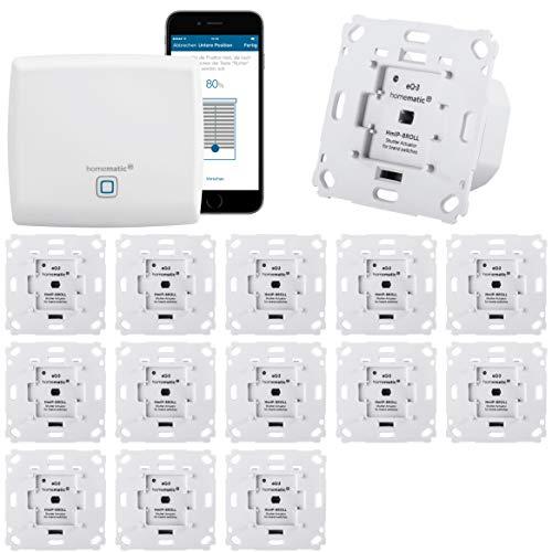 Homematic IP Rolladensteuerung Komplettset XXL für die Steuerung von 14 Rolladen. Vollständig mit Smartphone Steuerung, Zentrale, 14 Aktoren. Ideal für Hausbau oder zum Nachrüsten. Alexa kompatibel.