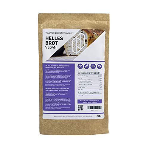 Neosupps Helles Eiweißbrot 250g | Hochwertige Proteinquelle | Getreidesorten | Aprikosenkernmehl | Leinsaat | Körner | Sonnenblumenkerne | Leinsamen | Low Carb Brot | Diät | Abnehmen, Gewicht:250g