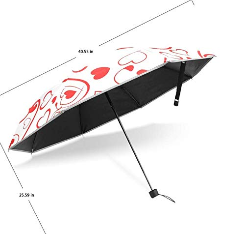 ZGMMM Sonnenschutz Anti-UV Sonnen- und Regenschirme Herzmuster Winddicht Damen Regenschirm Automatik Damen Regenschirm