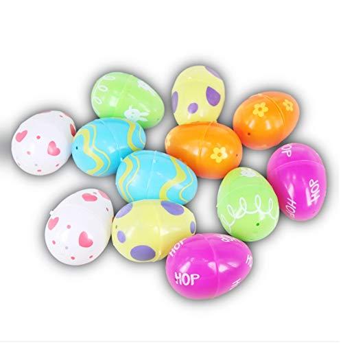 IEhotti Idea 12 Pcs Plastic Easter Eggs, Colorful Easter Decoration, 2.6