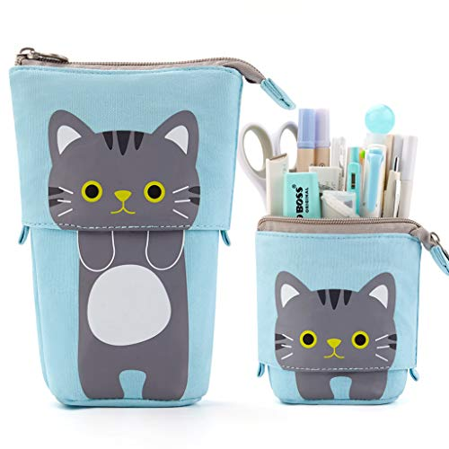 EASTHILL Cartoon Cute Cat Pencil Pouch Canvas Pen Bag Standing Stationery Case Holder Box for Student (Blue)