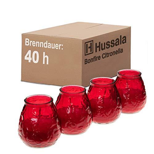 Hussala Bonfire Citronella Duft Kerzen mit Windlicht-Glas (Outdoor & Indoor-Kerze) Brennzeit 40 h - rot [4 Stück]