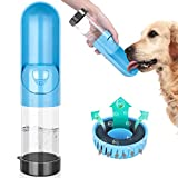 TSYMO Dog Water Bottle - Portable Pet Water Dispenser with Activated Carbon Filter, Foldable & Leakage Proof Drinking Feeder for Cats and Puppy Outdoor Walking, Hiking, Traveling, BPA Free (10 Oz)