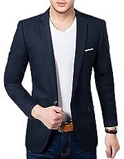 BREGEO Men's Cotton Casual Blazer