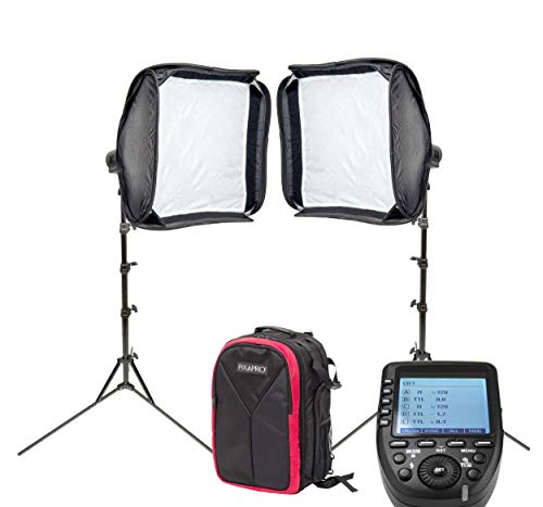PIXAPRO CITI300 PRO (AD300 PRO) Battery Powered Portable Compact Flash Twin Softbox Kit with Backpack and ST-IV (XPRO) Trigger Ideal for Weddings On-Location Events Travelling Photographers (for Fuji)