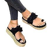 Sandalias Mujer Verano 2020 Zapatos de Plataforma Florales Cuña Sandalias para Mujer Verano Zapatos de Boca de Pescado Playa Zapatillas Sandalias de Punta Abierta Fiesta Roman Tacones Altos,Negro,43