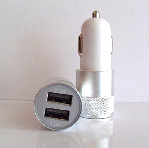 DEET® argento alluminio 2porte USB caricabatteria da auto per Samsung S6S7Edge