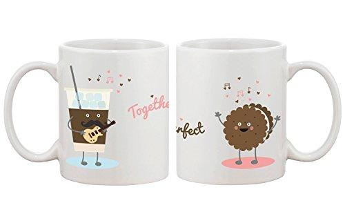 Hielo café galletas a juego tazas de pareja–boda perfecta, comp