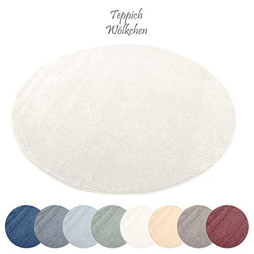 Designer-Teppich Pastell Kollektion | Flauschige Flachflor Teppiche fürs Wohnzimmer, Esszimmer, Schlafzimmer oder Kinderzimmer | Einfarbig, Schadstoffgeprüft (Natur Weiss, 150 cm rund)