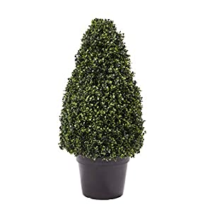 """Pure Garden Artificial Boxwood Topiary-36"""" Tower Style Faux Plant in Sturdy Decorative, Realistic Indoor or Outdoor Potted Shrub-Home Décor"""