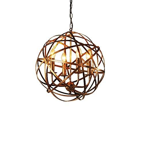ASSE Iluminación de techo de 4 luces de la vendimia de la vela de la lámpara colgante de luz E14 Industrial Socket con el globo Sombra del arte del hierro for la casa Desván Sala de estar Bar Restaura