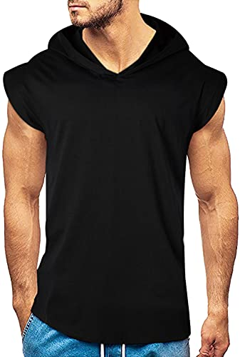 Belovecol Mens Tank Top with Hood Gym Bodybuilding Hoodies Workout Shirts Cut Off Sleeveless Muscle Shirts XXL Black