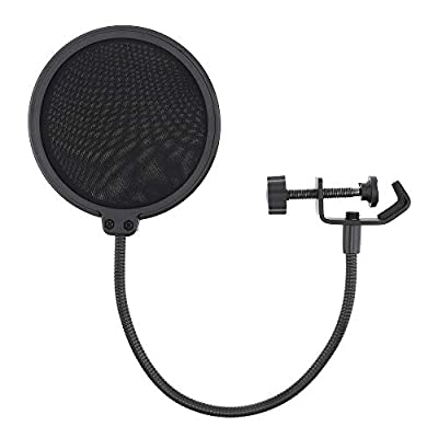 DiGiYes Double Layer Studio Microphone Pop Filter Flexible Wind Screen Mask Mic Shield for Speaking Recording Accessories