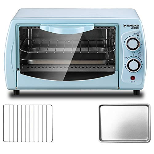 Toaster oven 11L Mini Four Compact Petit Grille-Pain Double Grill 30 Minutes Minuterie 365 * 220 * 210mm (Bleu/Rose)