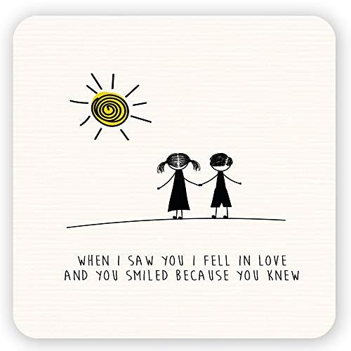 Kühlschrank-Magnetschild, Motiv: Dorothy Spring When I Saw You I Fell in Love and You Smiled Because You Knew Cute Love, inspirierendes Zitat, quadratisch, Größe 10,2 x 10,2 cm