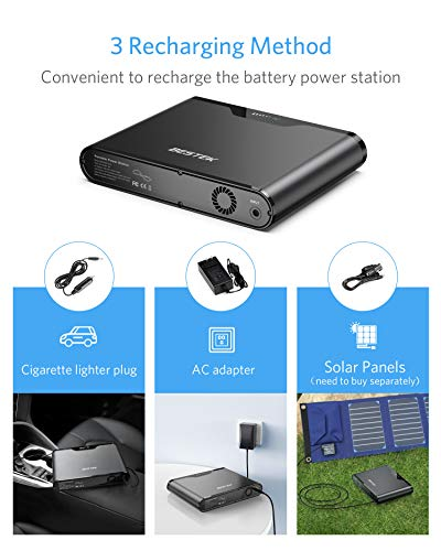 BESTEK Portable Power Station 167Wh Lithium Battery Generator Pure Sine Wave Power Inverter with 3 USB Ports/Cigarette Lighter,Backup Power Supply for Road Trip Outdoor Camping Adventure Emergency