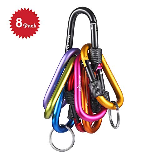 BEEWAY Locking Carabiner Pack 8 Premium Aluminum Alloy D-ring Carabiners Clip Hook with 2pcs Keychain O Ring for Outdoor, Camping, Hiking, Traveling, Fishing, Backpack