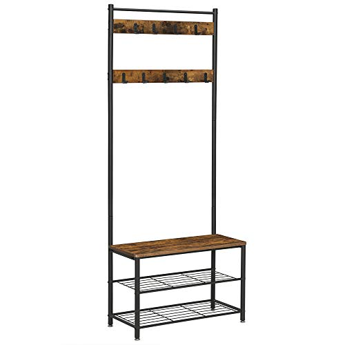 VASAGLE DAINTREE Coat Rack, Hall Tree Entryway Shoe Bench, Storage Shelf Organizer, Accent Furniture with Steel Frame, Industrial, Rustic Brown and Black UHSR41BX