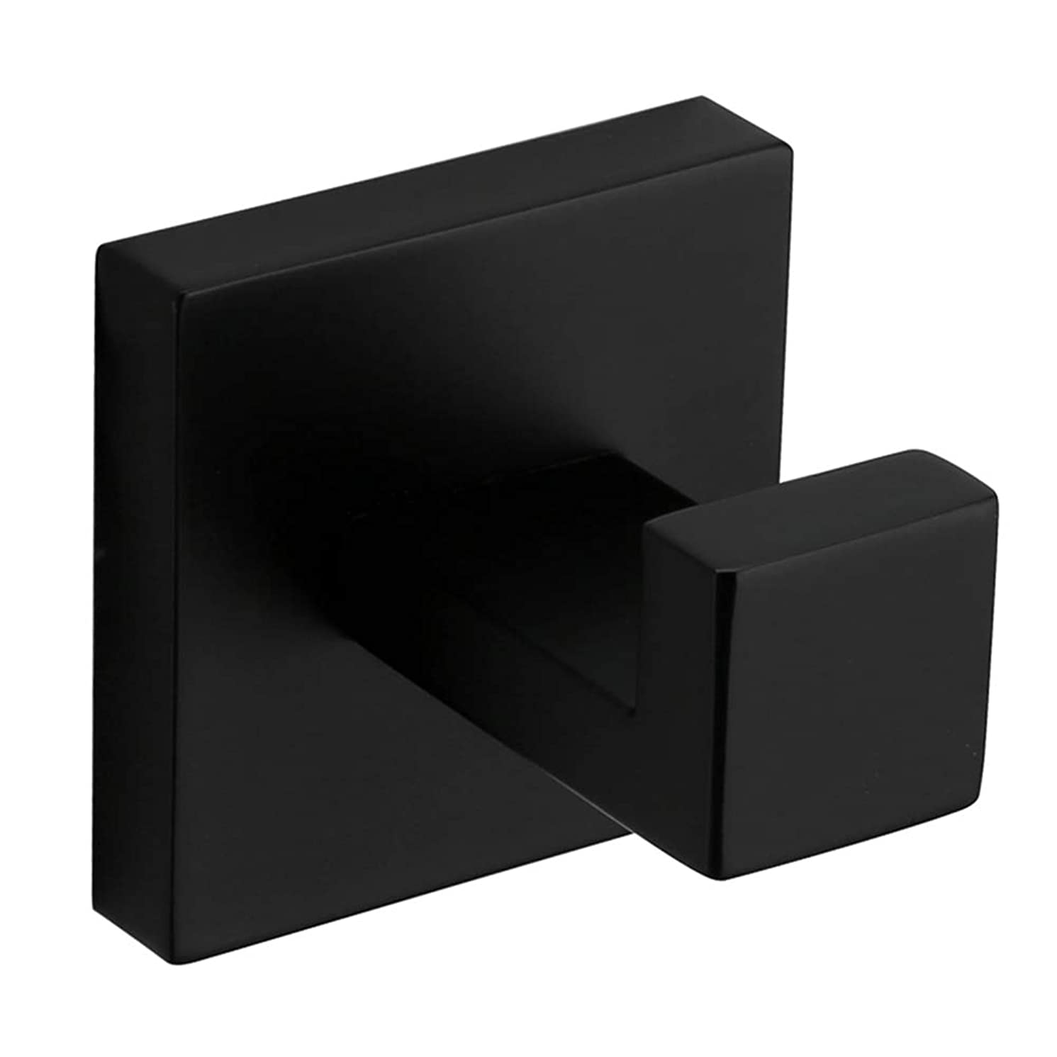 VELIMAX Premium Stainless Steel Towel Hook Robe Hook Squared Single Hook for Bathroom Matte Black Wall Mount Contemporary Style