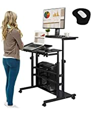 Rolling Laptop Table Mobile Standing Desk Sit-stand Computer Cart Workstation Height Adjustable for Home Office Classroom with Wheels Black