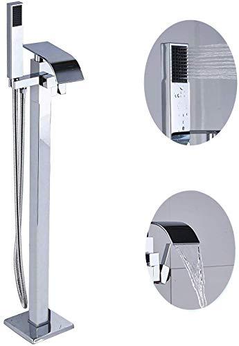 PLEASUR Chrom Freistehende Badewanne Füller Mischbatterie Bodenmontierte Einhand Gebogener Wasserfall Auslauf + Handsprühgerät Bad Duschmischer Wasserhahn Duschsystem