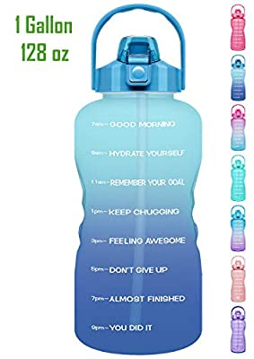 Venture Pal 1 Gallon Large Motivational Sports Water Bottle with Time Marker & Straw, Leakproof BPA Free Reusable Fitness Water Jug for Gym,Work and Outdoor Sports-Ombre Navy Green